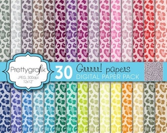 80% OFF SALE leopard animal print digital paper, commercial use, scrapbook papers, background  - PS597