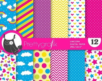 80% OFF SALE Unicorn digital paper, commercial use, scrapbook papers, background chevron, stripes, pony, hearts - PS735