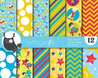 80% OFF SALE Superhero digital papers, commercial use, scrapbook papers, background  - PS653