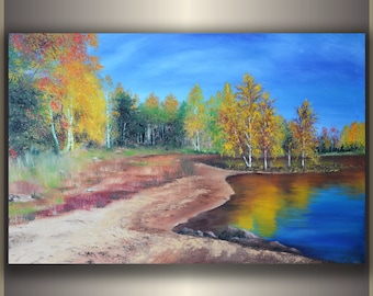"ORIGINAL Oil Painting ""Autumn Forest"" size: 36""x24"""