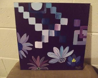 Blue and Purple Floral Abstract Acrylic Painting