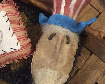 Primitive Uncle Sam Ornie Tuck | Red White and Blue | 4th of July | Patriotic Decor | Primitive Decor | Americana Decor | Bowl Filler |