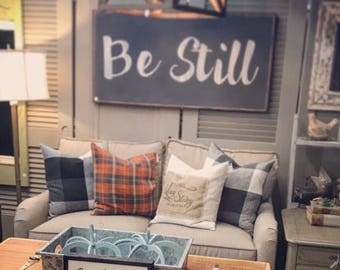 be still | be still and know | biblical quote | home decor | scripture | hand painted custom large sign | wood framed sign