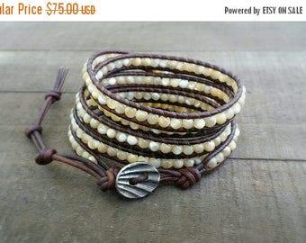 4th of July Sale mother of pearl 5x leather wrap bracelet boho bracelet spring summer bracelet beach bracelet earthy bracelet