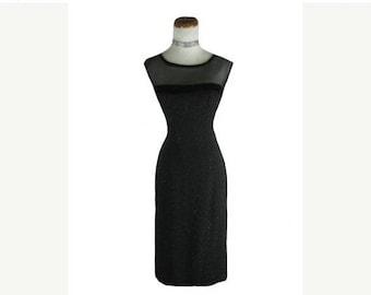 On sale 1950s 1960s Black BOMBSHELL Vintage Wiggle Dress W 28