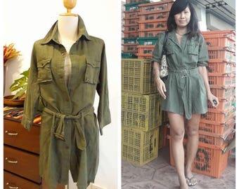 Vintage Green Jacket/Boho coat/Bohemian Light Jacket/Army jacket/Army Dress.