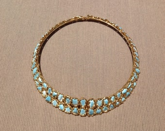 Vintage Faux Turquoise Nugget and Gold Tone Choker Collar Necklace