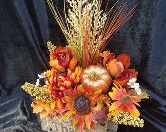 Fall silk arrangement home decor centerpiece