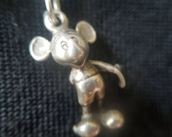 """Sterling Silver Mickey Pendant with 18"""" Sterling Silver Chain (st - 2091)"""