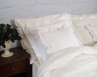 Linen bedding set - duvet cover and pillowcases, white linen bedding,oxford pillowcases