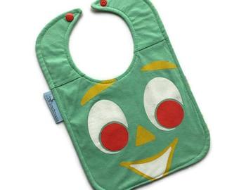 Gumby Bib • Gumby Baby Shower Gift • Tee Shirt Bib • Baby Bib