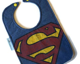 Superman Bib • Superman Baby Bib • Upcycled Tshirt Bib • Baby Shower Gift