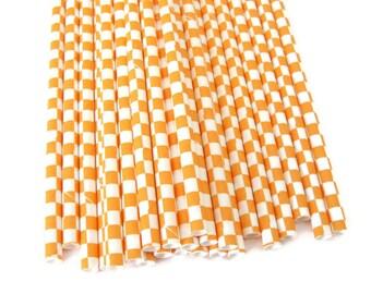 Orange Checkered Paper Straws 25 Count | Orange and White Paper Straws | Orange Block Print Paper Straws | Orange Paper Straws | Fall Straws