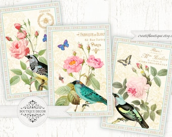 Vintage Provence Cards, Scrapbooking/Decoupage paper. Set of 3. Digital download for scrapbooking and packaging.