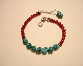 Vintage Turquoise Nugget And Carnelian Bead Bracelet With Sterling Findings