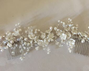 Ivory white flower pearl and crystal headdress /headpiece / hair comb