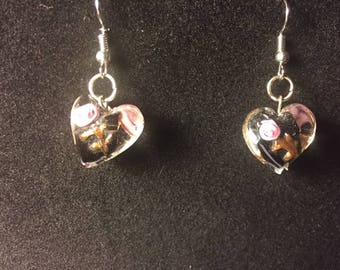 Merano Glass Earrings Black and Pink