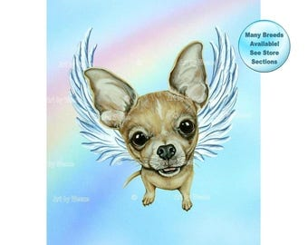 Chihuahua Angel, Chihuahua, Chihuahua Memorial, Chihuahua Art, Chihuahua Print, Dog Angels, Pet Loss Gift, Pet Memorial, Rainbow Bridge
