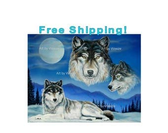 SALE!! Wolf Poster, Wolf Art, Wolf Painting, Wolf Picture, Wolf Drawing, Blue Moon, Wolves, Wolf Artwork, Wolf Lover Gift, Free Shipping!