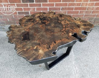 Modern Live Edge Table  Coffee Table  Contemporary  Tree Slice  Black  Gray