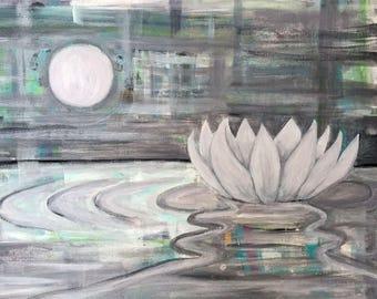 Abstract Art - Abstract Painting - Moon Lotus - Lotus Flower Art - Lotus Art - Lotus Print - Original Art - Lotus Art Print