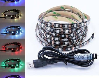 USB LED Strip 5050 RgB mini 3 button controller kit 6.5 ft  - Great for TV Computer Monitor Backlight