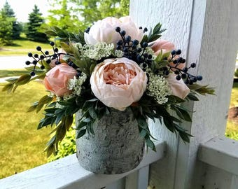 Rustic Chic Blush Pink Peonies, Queen Anne's Lace, Berries in White Birch Bark Pot, Faux Flowers, Home Decor, Wedding Flowers