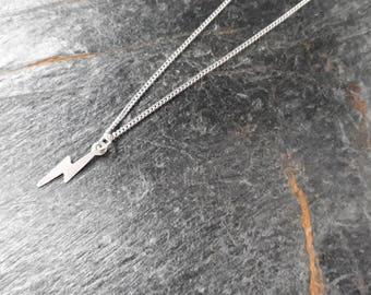 Sterling Silver Harry Potter Necklace/Harry Potter Scar Necklace/Lightning Charm Necklace/Harry Scar/Silver Lightning Bolt Charm/Fiction