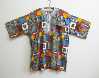 Tribal Tunic Embroidery XL Multicolor Geometric Ocher Blue -Loose Tribal Top