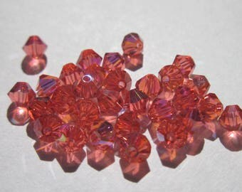 30 genuine swarovski 4mm - padparadscha AB Crystal bicones (2).