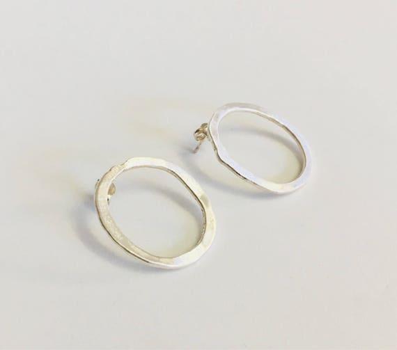 Large Oval Studs - fine silver