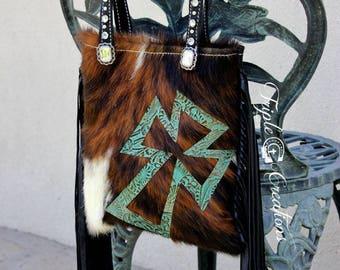 Cowhide Shoulder Bag with Fringe and Cross