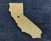 California Golden State Metallic Gold 100% Embroidered Iron On Travel Patch