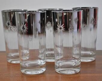 Set of 5 Silver  Atomic Starburst MCM Mid Century Tumblers Vintage Barware Drinking Glasses Dorothy Thorpe