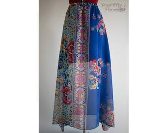 Flower skirt. Flowers skirt. Blue skirt. Boho skirt. Boho flower skirt. OOAK skirt. Bohemian skirt. Long skirt. High waist skirt. Folk skirt