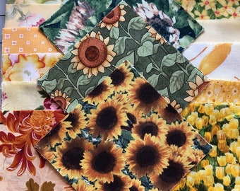 """52 Sunflower Inspired 4"""" Cotton Squares"""