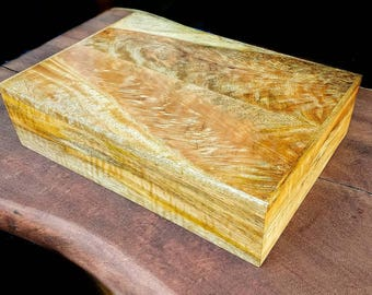 Large Keepsake Box crafted with Hawaiian Curly Mango with a velvet interior