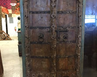 Antique Almirah Old Doors Rustic Furniture Distressed wood Iron Storage Cabinet Vintage Indian Armoire  Mediterranean Decor FREE SHIP