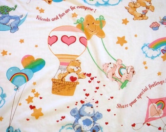 Vintage 1982 Rainbow Care Bears Flat Twin Sheet 67x94