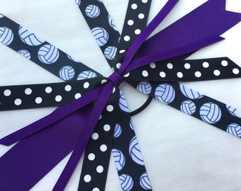 purple volleyball hair bow, team bows, ponytail ribbon streamer bow, purple and black hair streamer, choose your sport hair bow