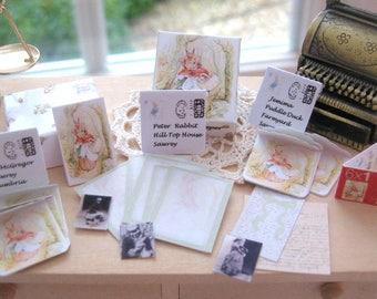 dollhouse beatrix potter  boxed writing set letters envelopes stamps photos mrs rabbit  12th scale miniature