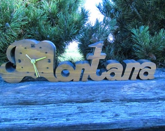 Vintage Montana Clock Carved from Wood