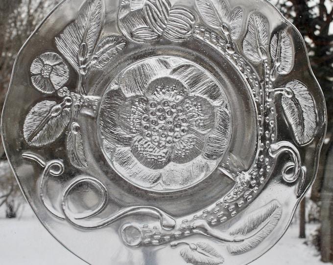 Arabia Finland Peoni Glass Platter Serving Plate Oiva Toikka Vintage 1970's Peony Nuutajarvi