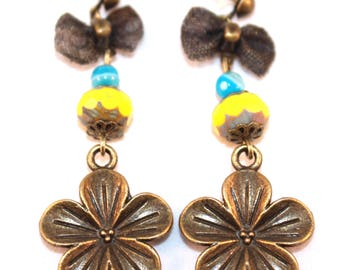 Earring posts, flowers and bows, yellow and blue beads