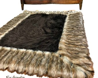 Plush Faux Fur Throw Area Rug - Brown Shag Bear with Brown Ribbed Fox Fur Border Trim - Ultra-Suede Lining - Fur Accents - USA