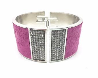 Turkey Fuchsia leather bracelet