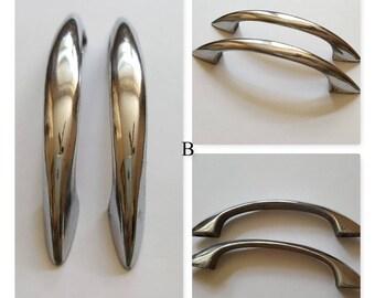 Mid Century Drawer Handles, Silver Chrome Curved, Kitchen Cabinet Door,  Sleek Streamline Machine