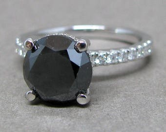 Round Black Natural Diamond Halo Engagement Ring 14k White Gold 9mm Halo 3.10ct Total Weight