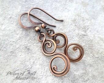 Solid copper earrings - Wire wrapped earrings - wire wrapped jewelry handmade - wire jewelry - copper jewelry - earthy - spiral earrings
