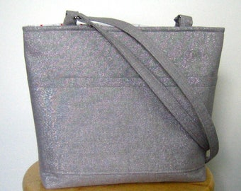 Shoulder Bag, Purse, Handbag, Satchel, Metallic Linen, Silver and Red